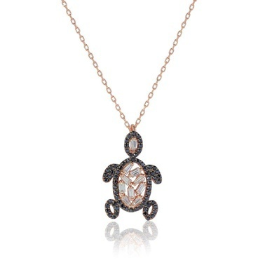 Söğütlü Silver Kaplumbağa Kolye Renkli